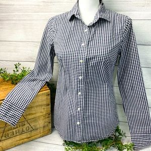 J Crew Navy & White Checker Ladies Button-down Sm